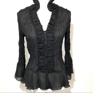 Gothic black sheer rouched blouse top M